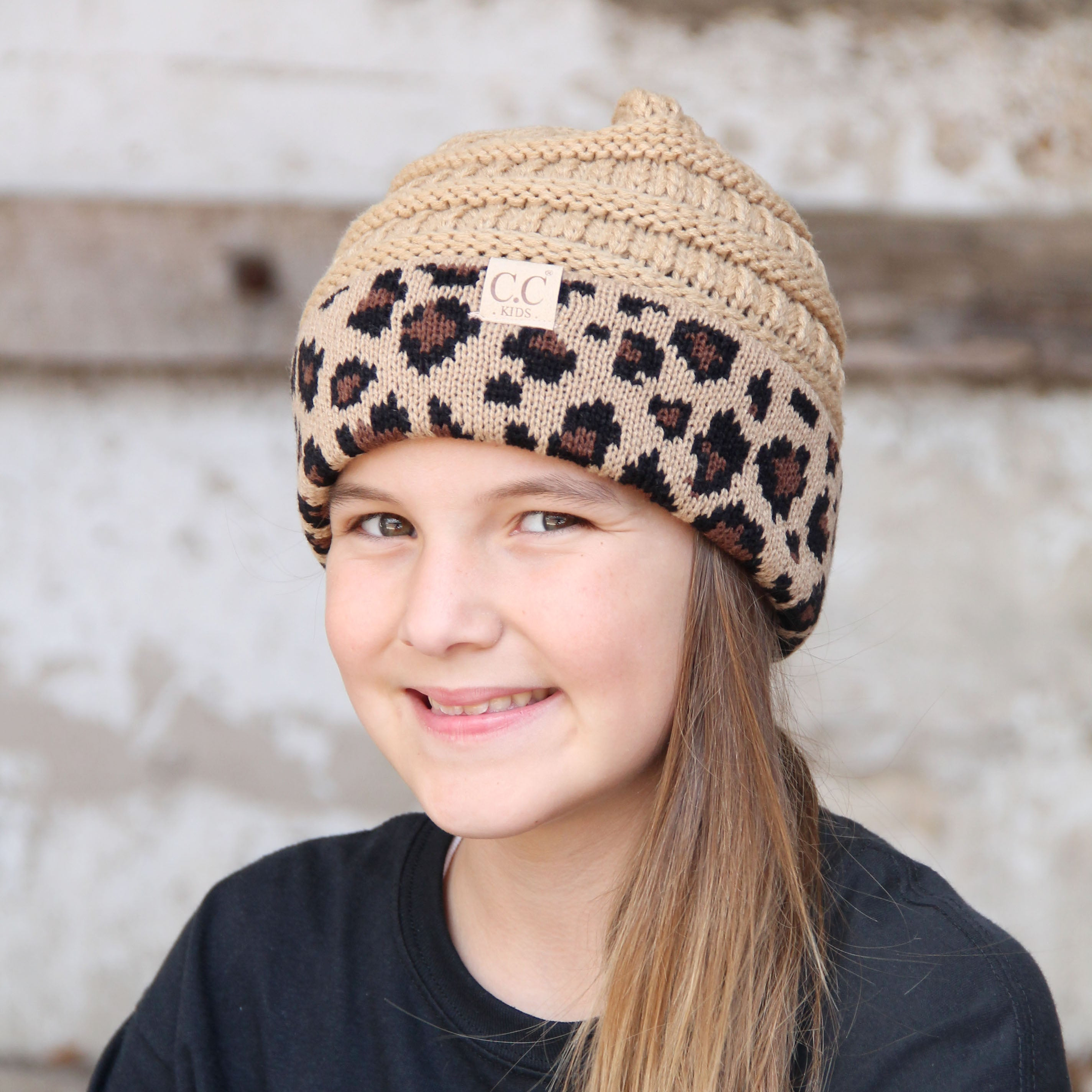 KID-45 Camel Leopard Youth Beanie