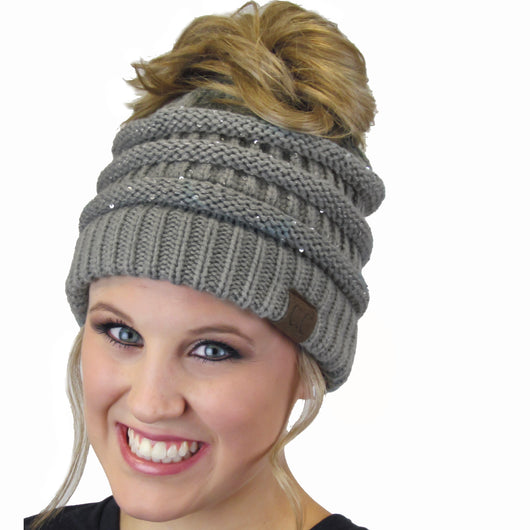 MB-730 SEQUIN BEANIE LIGHT MELANGE GREY