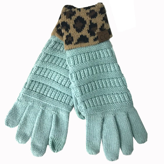 G-45 C.C Mint Gloves with Leopard cuff