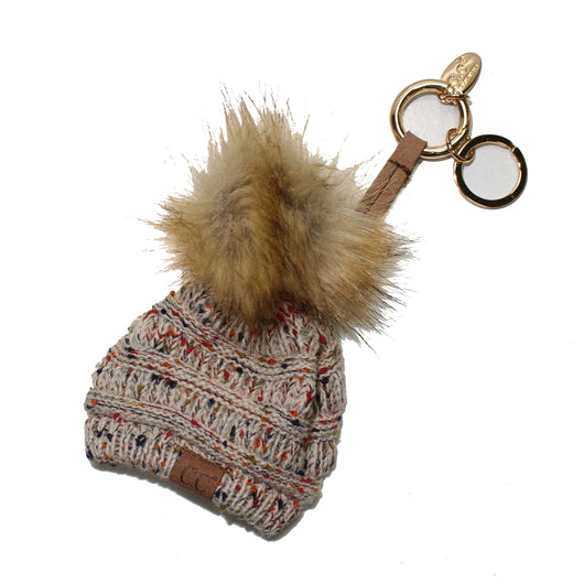 KB-33 Oatmeal Speckled Beanie Keychain