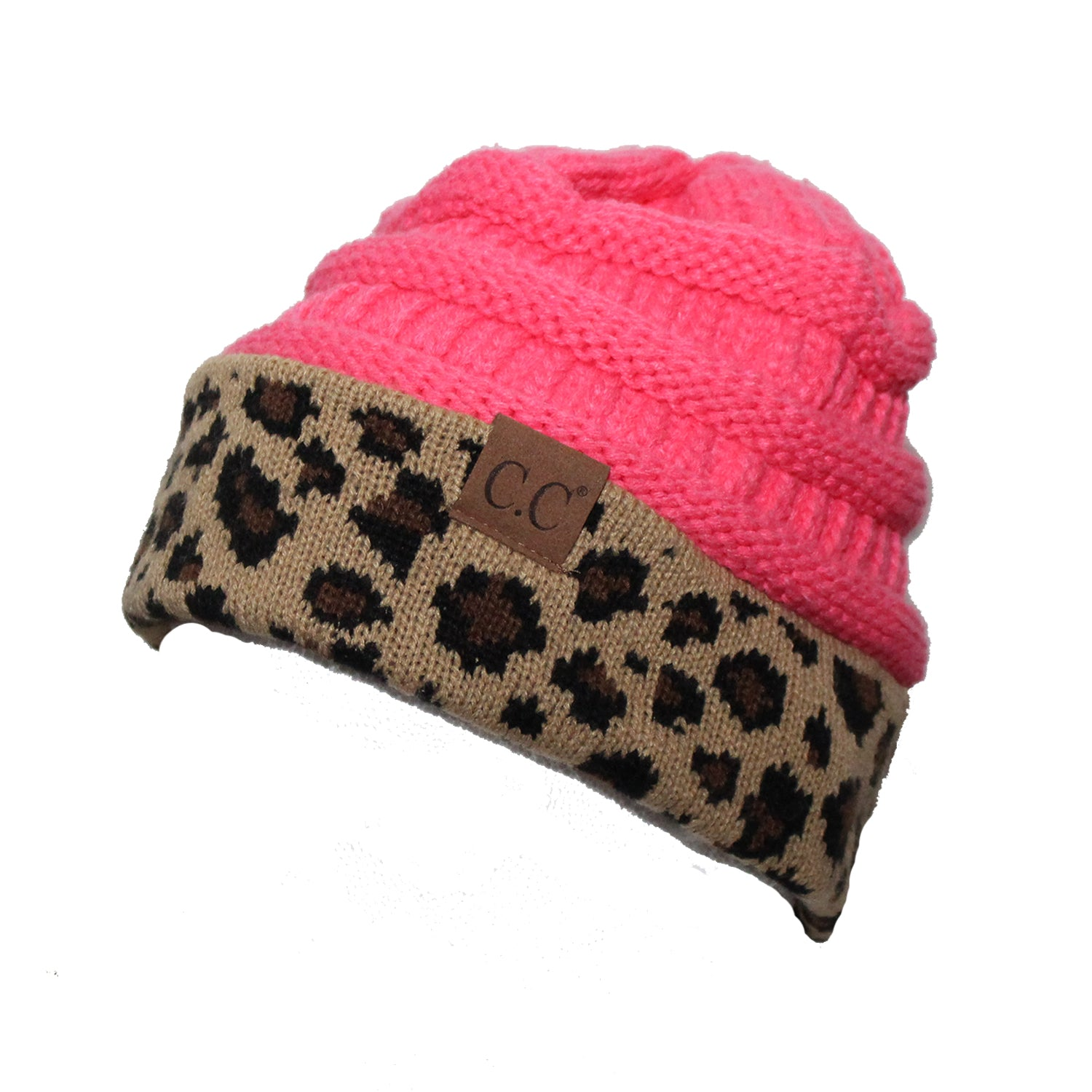 CC-45 New Candy Pink Leopard Beanie