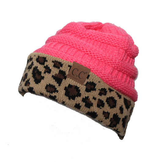 Hat-45 New Candy Pink Leopard Beanie