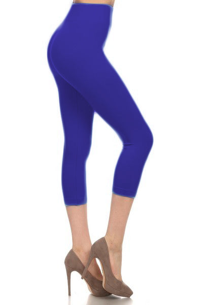 SML518SD-Royal Blue Capri Legging