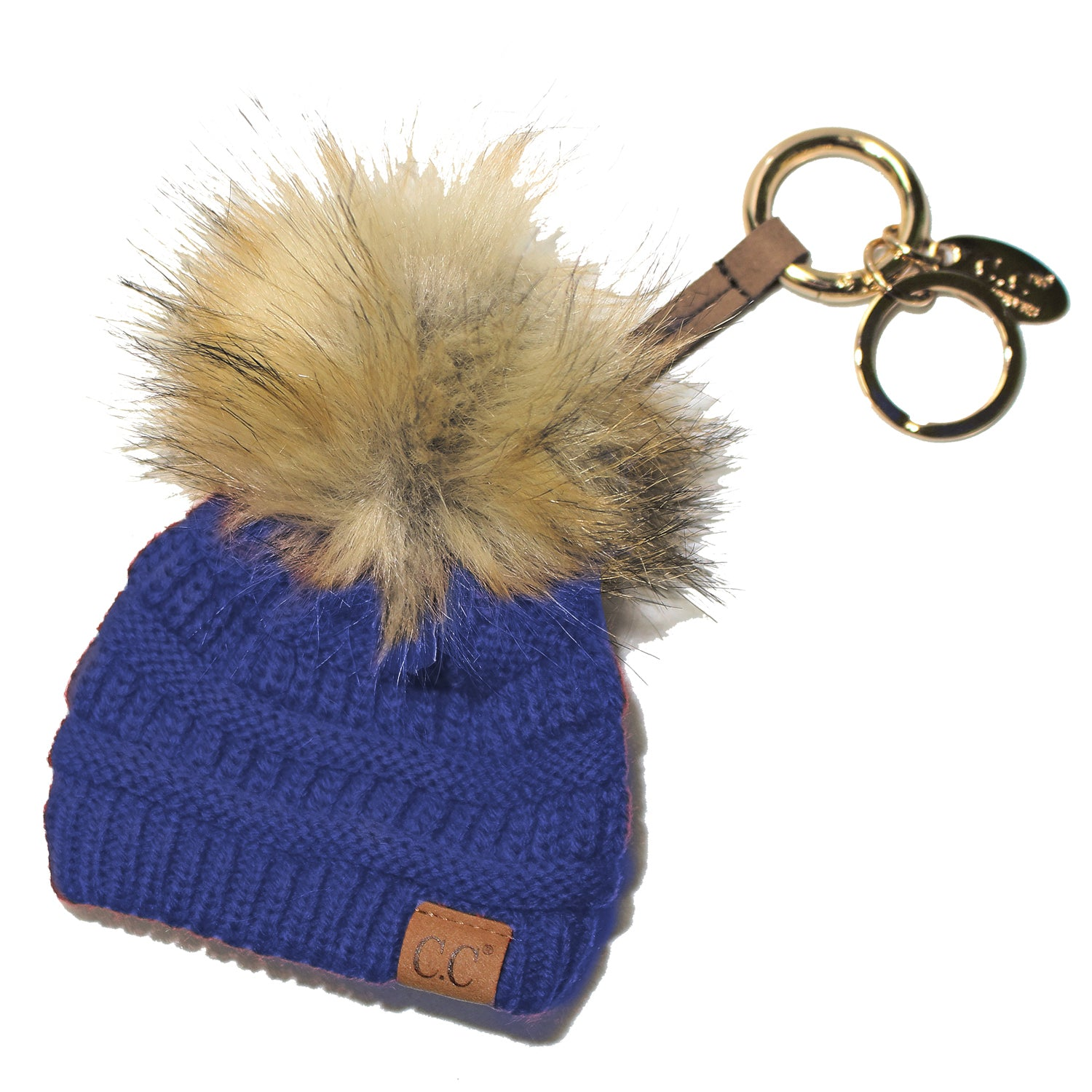 KB-43 Keychain W/FAUX FUR POM -Royal