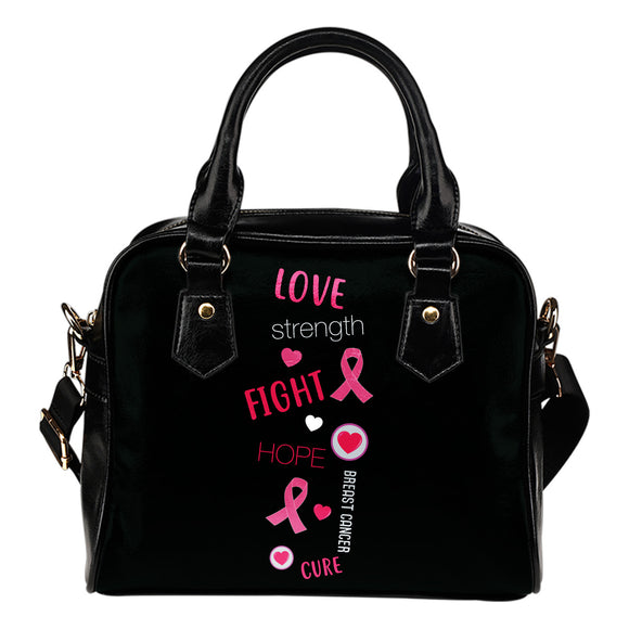 Love Strength Hope Breast Cancer Awareness Shoulder Bag