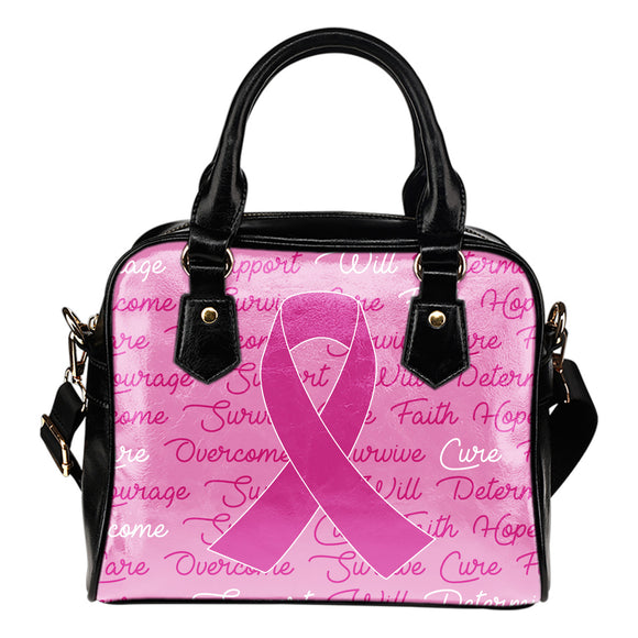Breast Cancer Awareness Words Shoulder Bag Purse