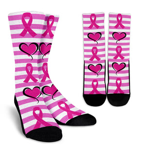 Hearts and Pink Ribbons Socks