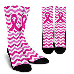 White and Pink Pink Ribbon Socks