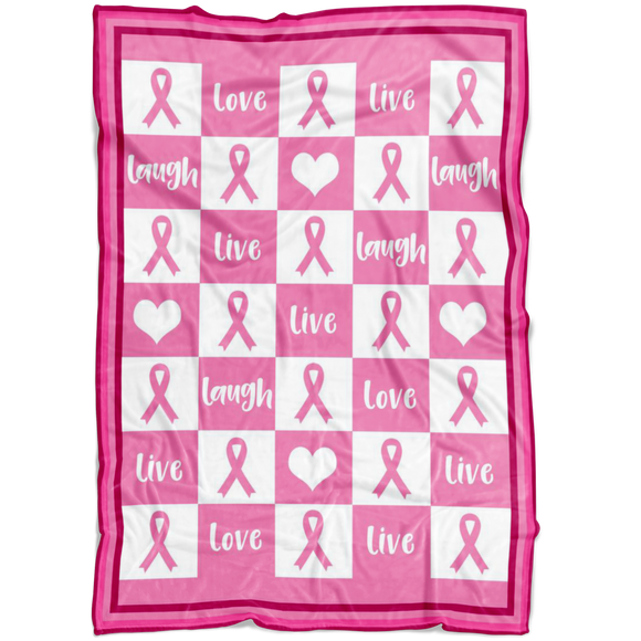 Love Love Laugh Pink Ribbon Fleece Blanket