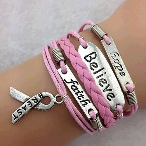 Hope Believe Faith Wrap Around Leather Breast Cancer Bracelet