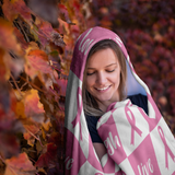 Love Love Laugh Pink Ribbon hooded Blanket