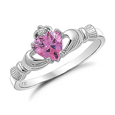 Sterling Silver Pink Claddagh Breast Cancer Ring
