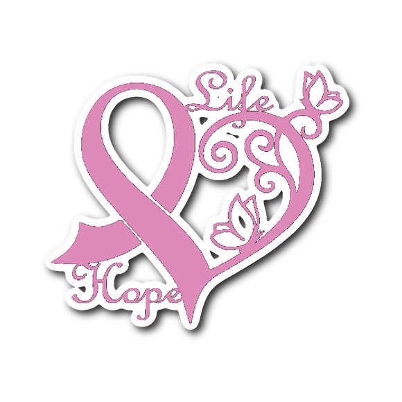 Breast Cancer Heart Sticker