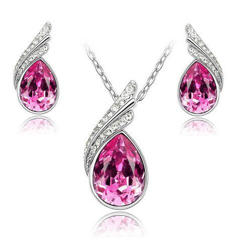 Stunning Breast Cancer Awareness Pink Drop Earrings and Necklace Set