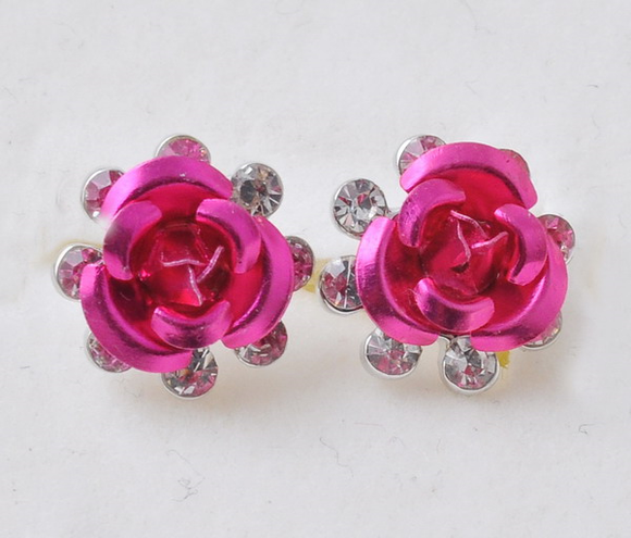 Breast Cancer Pink Rose Earrings