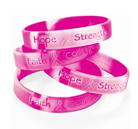Hope Strength Faith Courage Pink Silicone Bracelets