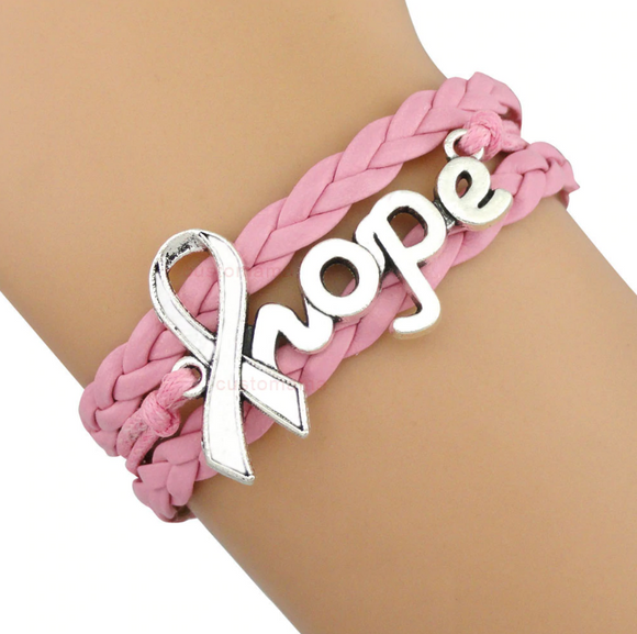 Hope Breast Cancer Ribbon Bracelet