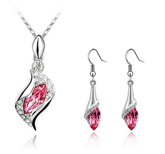 Gorgeous Breast Cancer Awareness Pink Crystal Earrings and Necklace Set