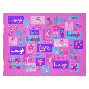 Live, Love, Laugh Pink Ribbon Blanket