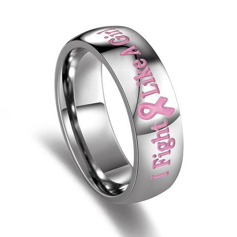 I Fight Like a Girl Pink Ribbon Ring