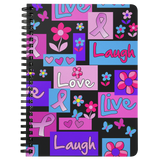Trendy Live Love Laugh Pink Ribbon Spiralbound Notebook Journal