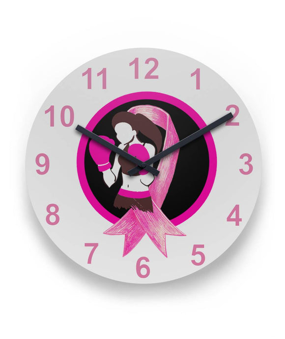 Pink Ribbon Fighter Wall Clock