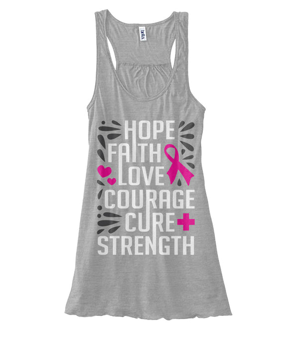Hope Faith Love Courage Cure Strength Tank Tops