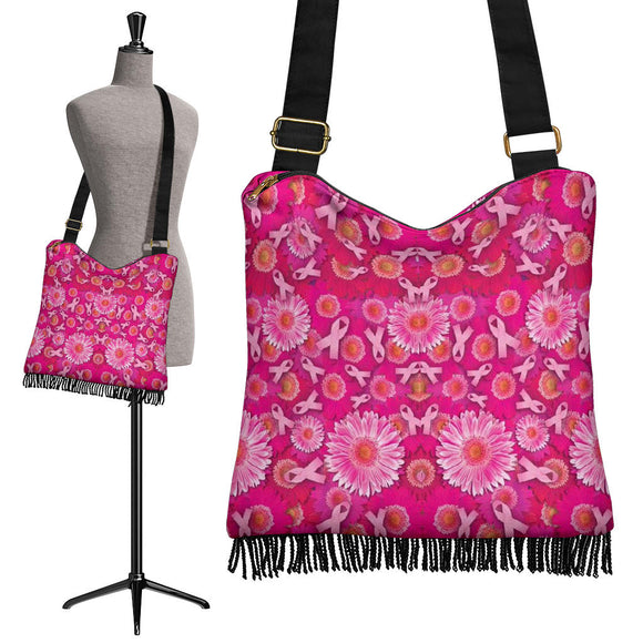 Pink Ribbons and Flowers Crossbody Boho Handbag