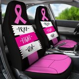 Pray Fight Win Pink Ribbon Car Seat Covers