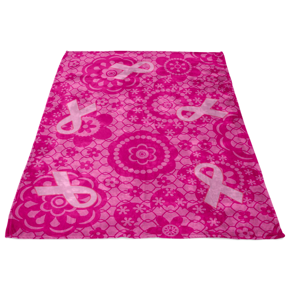Breast Cancer Flowers Blanket
