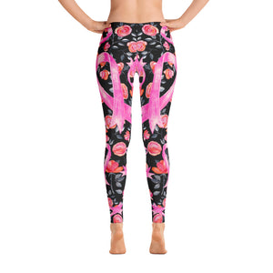 Roses & Pink Ribbon Leggings - Black