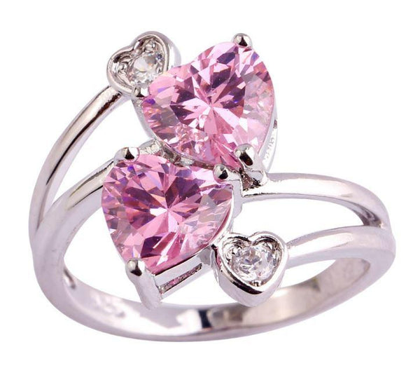 Double Heart Pink Breast Cancer Ring