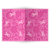 Pink Ribbon Pattern Folded Set of Greeting Cards