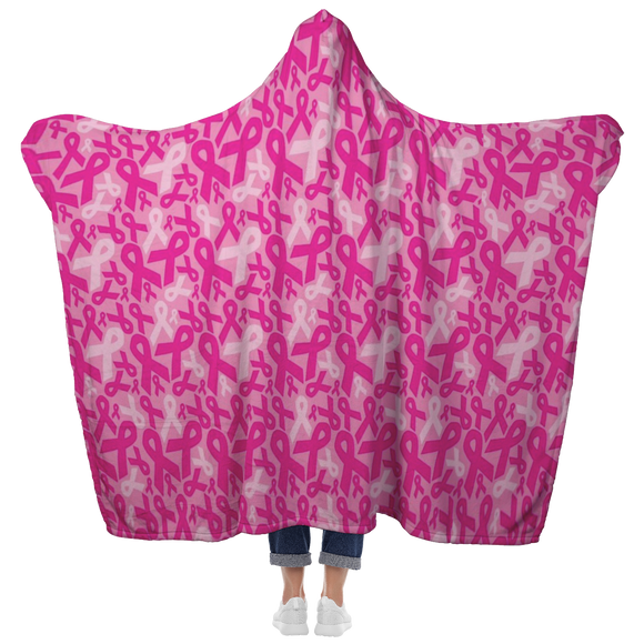Breast Cancer Flowers hooded Blanket