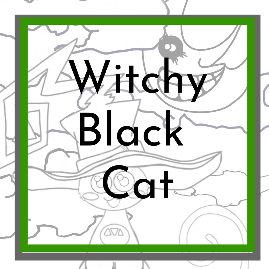 Witchy Black Cat Coloring Page
