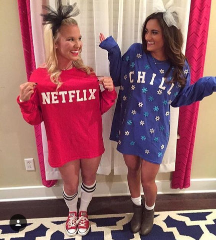 Girls dressed up as netflix and chill