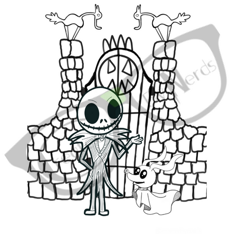 Skellington Man and his dog coloring page