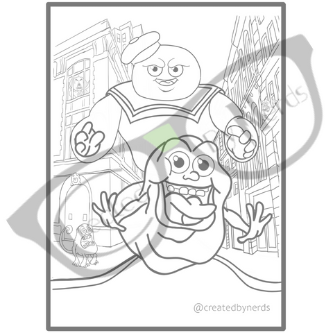 Attack of the ghosts coloring page with watermark