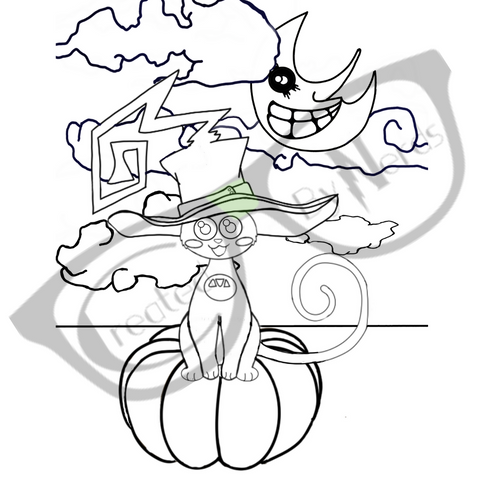 Witchy Black Cat coloring page with water mark