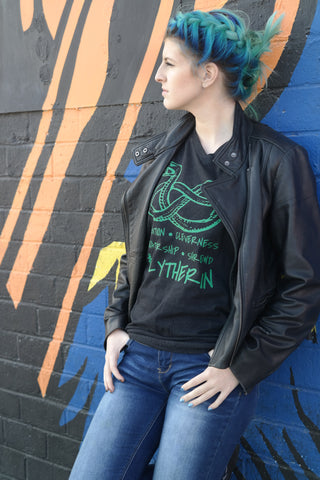 black cotton tee on teen with leather jacket slytherin house tee