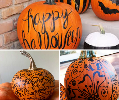 Pumpkins decorated by sharpies