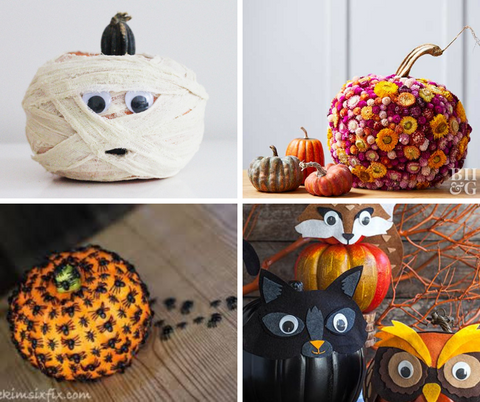 pumpkins decorated with items to looks like mummies, cats, flowers and spiders