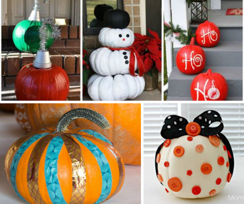pumpkins decorated with duct tape, buttons and made looks like christmas items