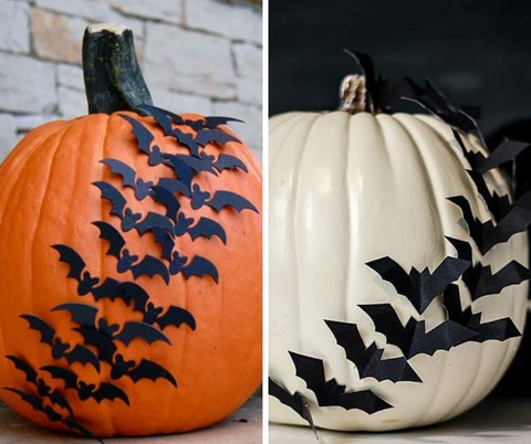 pumpkins decorated with paper