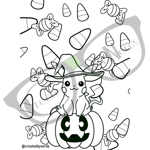 Pikachu wearing witch had and sitting on pumpkin coloring page
