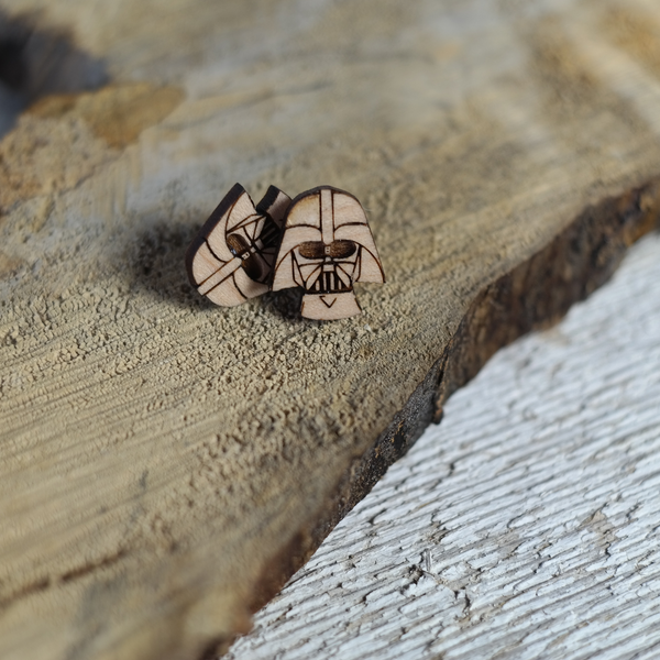 Maple wood Stud earrings shaped with a darth vader helmet