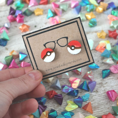 Pokeball studded wooden earrings
