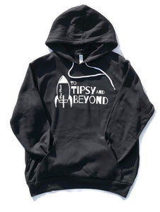 Black Fleece kangaroom pocket hoodie with white words and rocket ship to tipsy and beyond