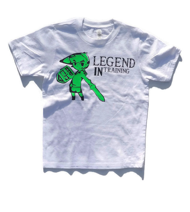 "White Youth Tee with neon green image of Link from zelda and a line ""legend in training"""