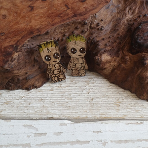 maple wood cut and engraved baby groot hand painted